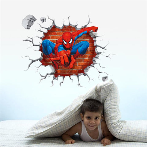 3d spiderman through the wall sticker