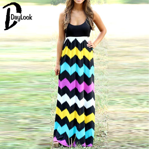 Contrast Multicolor Sleeveless Maxi Dress Round Neck Loose Beach Casual Long Dress