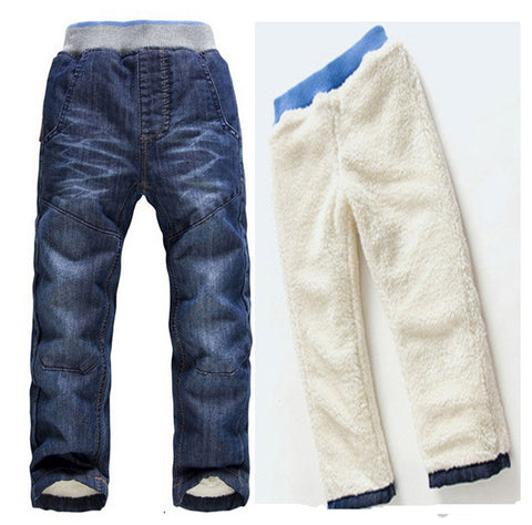 3-7T Warm Cashmere Boys Jeans Straight Casual Trousers Baby Boy Winter Trousers Top Quality ninos