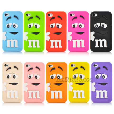 3D Cartoon M&M Chocolate Candy model silicon material Cover Case for iphone 4 4s PT1358