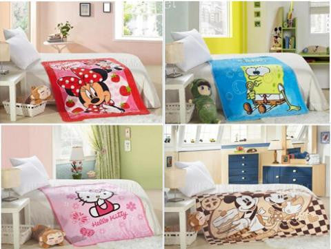 100% cotton blanket 8color  cartoon characters