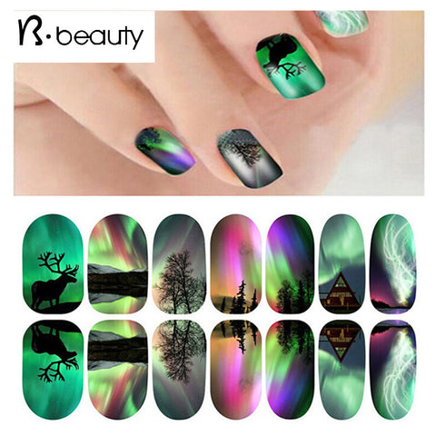 Nail Adhesive Stickers Full Cover Decals, 12Designs, Glowing Nail Art Sticker Sheet Decorations