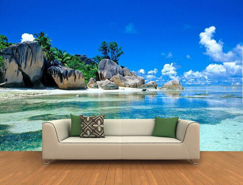 3 d island landscape rock beach mural wallpaper we need size of wall to give exact price