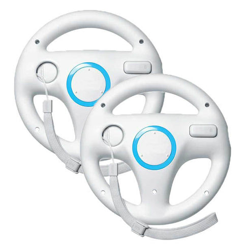 2 x pcs White Steering Mario Kart Racing Wheel for Nintendo Wii Remote Game