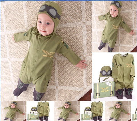 green long sleeve romper with hat toddler clothing set roupas infantil