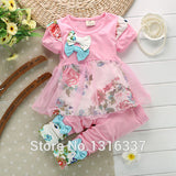 HOT SALE 2PCS Kids Baby Girls Lace Flower T-shirts Tops Clothes & Pants Trousers Outfit