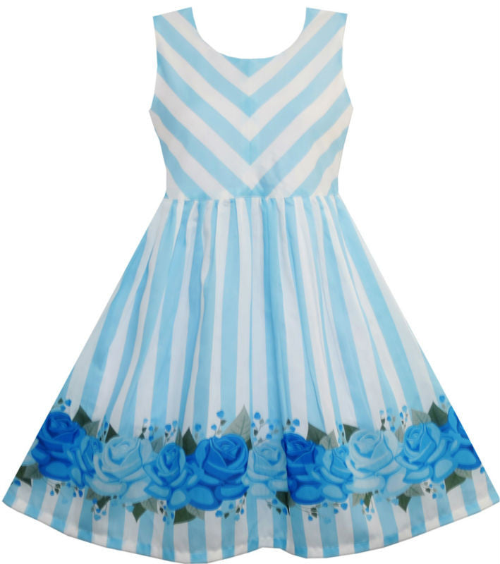 Girls Dress Striped Rose Print Tulle Blue 7-14
