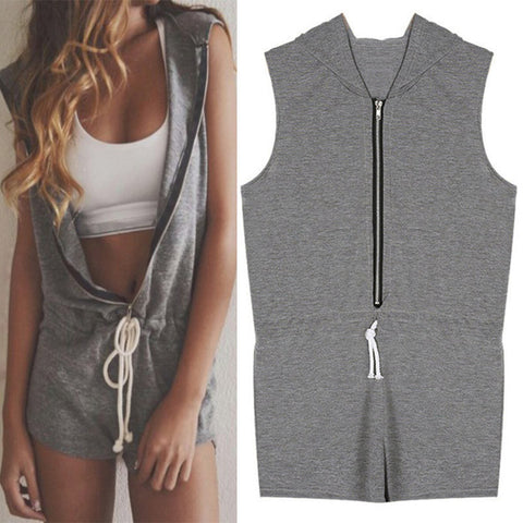 Hooded Jumpsuit Sleeveless Shorts Pants Casual Sports Zipper Jumpsuit CL2561
