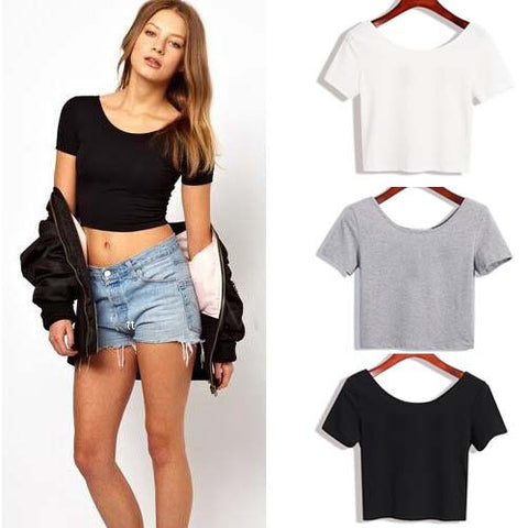 Crop Top Ladies  Stretch Bare-mid Shirt