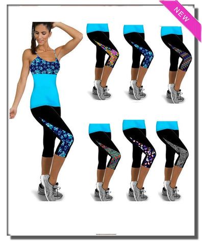 Capri Leggings High Waisted Print female Pant (11 Colors)