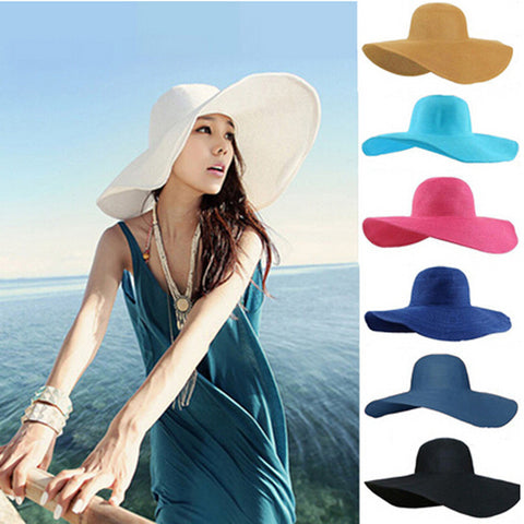 Foldable Wide Large Brim Floppy Beach Hat Sun Straw Hat Cap Women free shipping,D1201