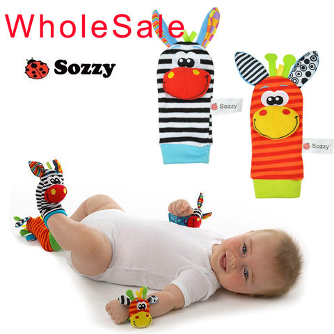 Baby toy baby rattles sozzy animal socks Wrist Strap with rattle (2pcs socks+2pcs wrist strap)