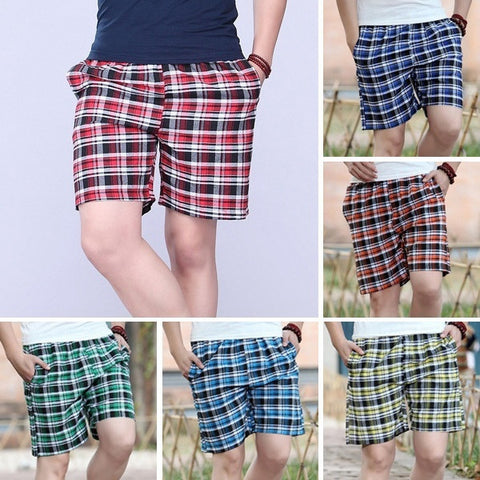 Beach Shorts Casual Sport Outdoors Joggers Trousers Classic Plaid  Short Pants 6 Colors