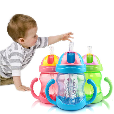 Cup Handle Children Learn Drinking Straw Bottle Sippy Training Cup