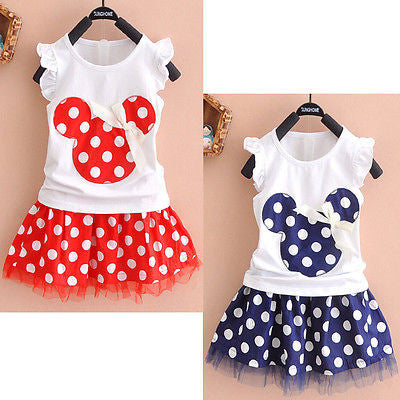 2016 Minnie Mouse Princess Birthday Party Outfit Girls Skirt Red Dot Kids Baby Girls Clothing