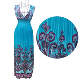 New Summer new deep v-neck peacock bohemia long beach dress sexy casual maxi dress free shipping