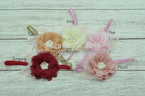 24pcs/lot  Beaded Chiffon Flower  Headband