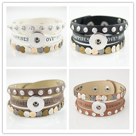 21.5CM real leather snaps bracelets snaps jewelry most popular fit ginger snaps KB0834