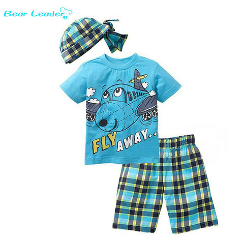 Cartoon suits summer short sleeve T-shirt + plaid pants + hat 3 pieces clothing set