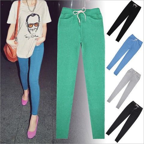 7 COLORS Loose Pants Candy Color Lacing Pocket Ankle Length Trousers Leggings Jogger Pants