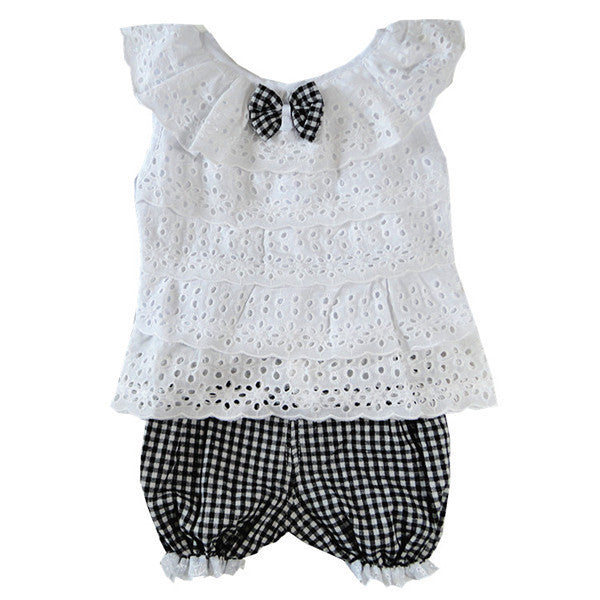 Lace Children Girl Clothes Set T Shirt And Lattice shorts Pants 2 Colors Infant Garment