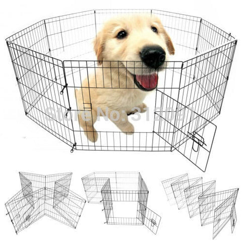 "3 size Portable 24"" 30"" 36"" 8 Panel Pet Dog Play Pen Exercise Cage Puppy Enclosure Rabbit Fence"