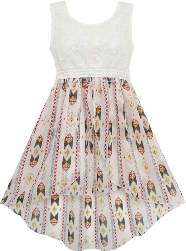 Girls Dress Hi-Lo Maxi Sequin Chiffon Lace Beige 7-14