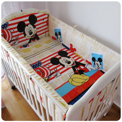 6PCS Mickey Mouse Baby bedding sets  (bumper+sheet+pillow cover)