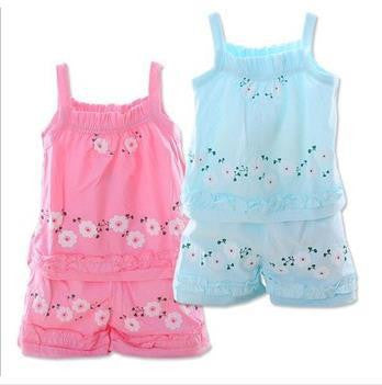 100% Cotton Newborn Baby Girl Strap Skirt Set Kids Tops + Shorts Set