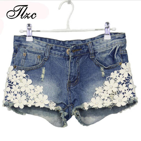 Floral Denim Shorts Size S-2XL Rivet Decorated Summer Fashion Lady Short Pants Trousers G1005