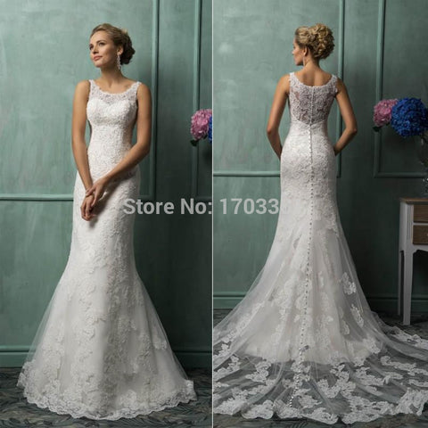 2016 Mermaid Wedding Dress Elegant Lace Wedding Dresses 2016 Chapel Train Scoop Neck Appliques Bridal Gown vestido de noiva W02