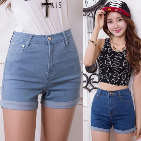 New Summer High Waist Stretch Denim Shorts Slim Korean Casual women Jeans Shorts Hot Plus Size