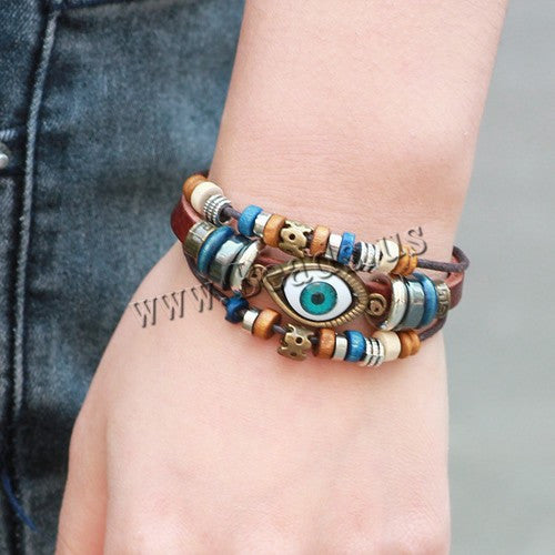 Unisex Girls Woman Leather Bracelet Wristband Blue evil eye bead leather bracelet for men Fashion