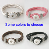 Interchangeable 21CM real leather snaps bracelets snaps jewelry most popular fit ginger snaps KB0801
