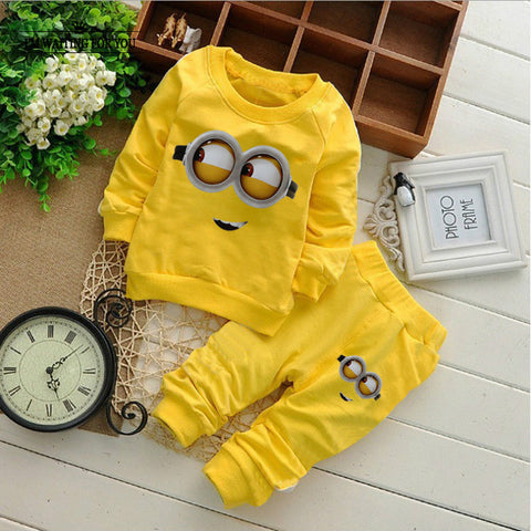 Minion clothing sets 2pcs kids long sleeve T shirt + pant spring autumn children clothes