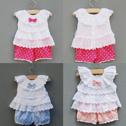 Baby Kid Girl 2pcs Outfits Clothes Ruffled T-shirt Tops + Dots Pants Suits