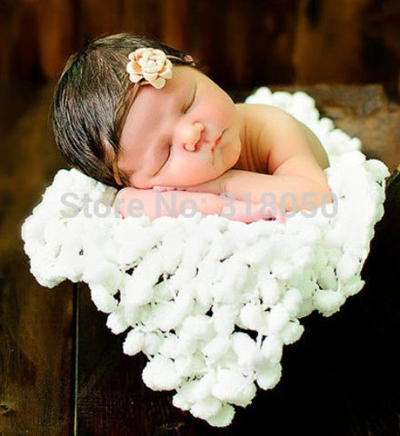 ,Chunky Knitted Crochet Blanket Mat Baby Newborn White balls blanket Photography Photo Prop 60*80cm