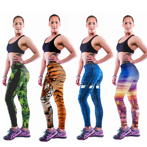 Sports Leggings Capris Digital Printing Workout Legging 2015 New SML137