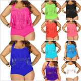 PLUS SIZE Women Retro Tassel Top High Waisted Bikini Swimwear Swimsuit L1X/2X/3XL Free Shipping