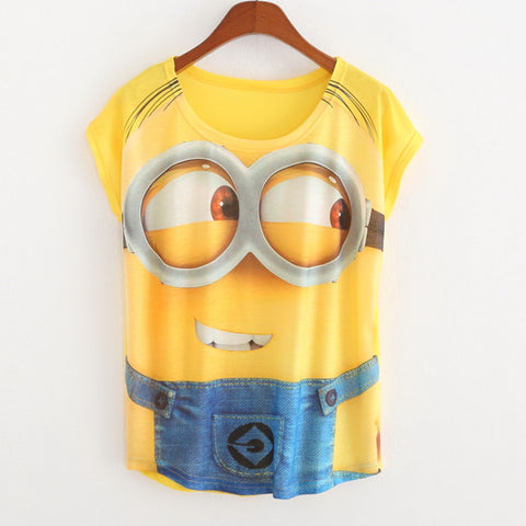 Batwing t shirts Minions print Casual t shirt women women clothing