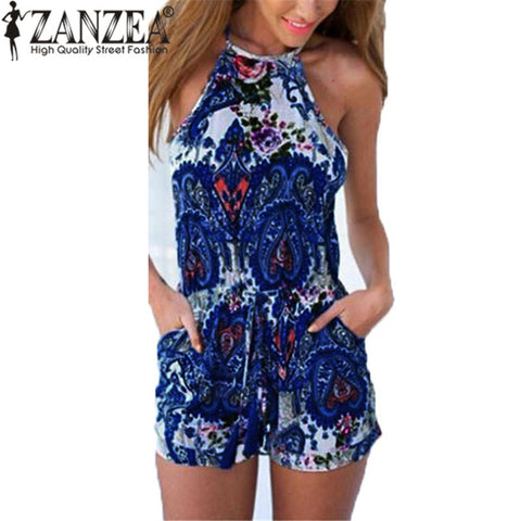 Neck Sleeveless Tank Playsuits Ladies Casual Beach Playsuits Overalls Bodysuits
