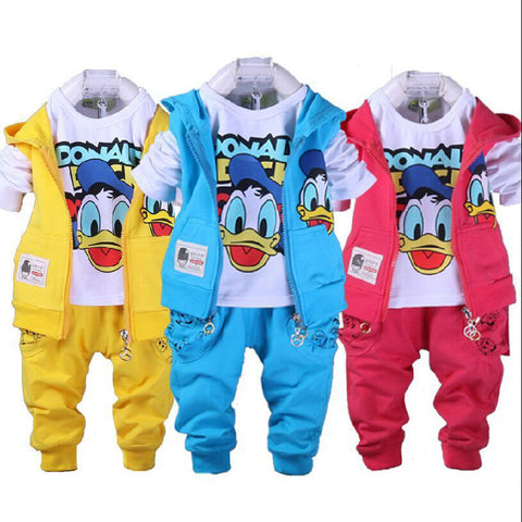 New Donald Duck Baby clothing boys and girls Set sport Suit 3Pcs vest+T-Shirt+Pants baby Summer Sets 1-4yrs baby clothing