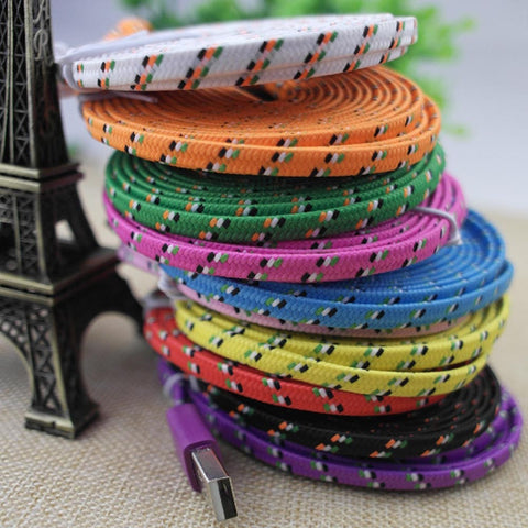 10 Colors Flat Braided Fabic Woven Wire for iPhone 5 5s 6 6Plus