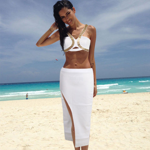 bandage sexy sets navel women club two-piece slim Bodycon party dress boys sweatsuits