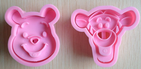 2Pcs Pink Bear Cookie Cutter