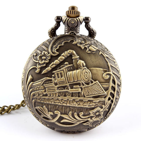 Quartz Pocket Watch Train Printed Unique Relogio Freeship