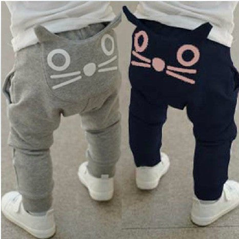 Hot Sale Baby cute cat design pants,Kids girls boys  Haren pants,Children Autumn new trousers