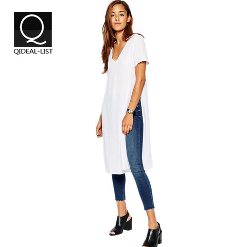 European V Neck Long Side Slit T Shirt Women Tops and Tees Casual Fashion Sport Women's T-shirt