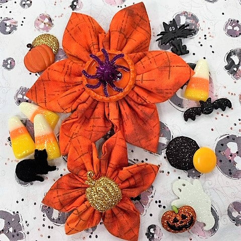 Orange/Grey Halloween Bow (as pictured) - Morgan+Mae Co.