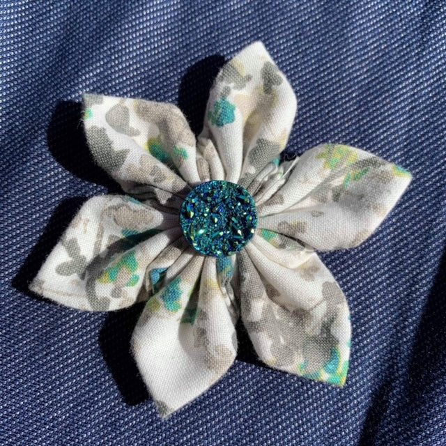 Grey Floral Everyday Bow (as pictured) - Morgan+Mae Co.